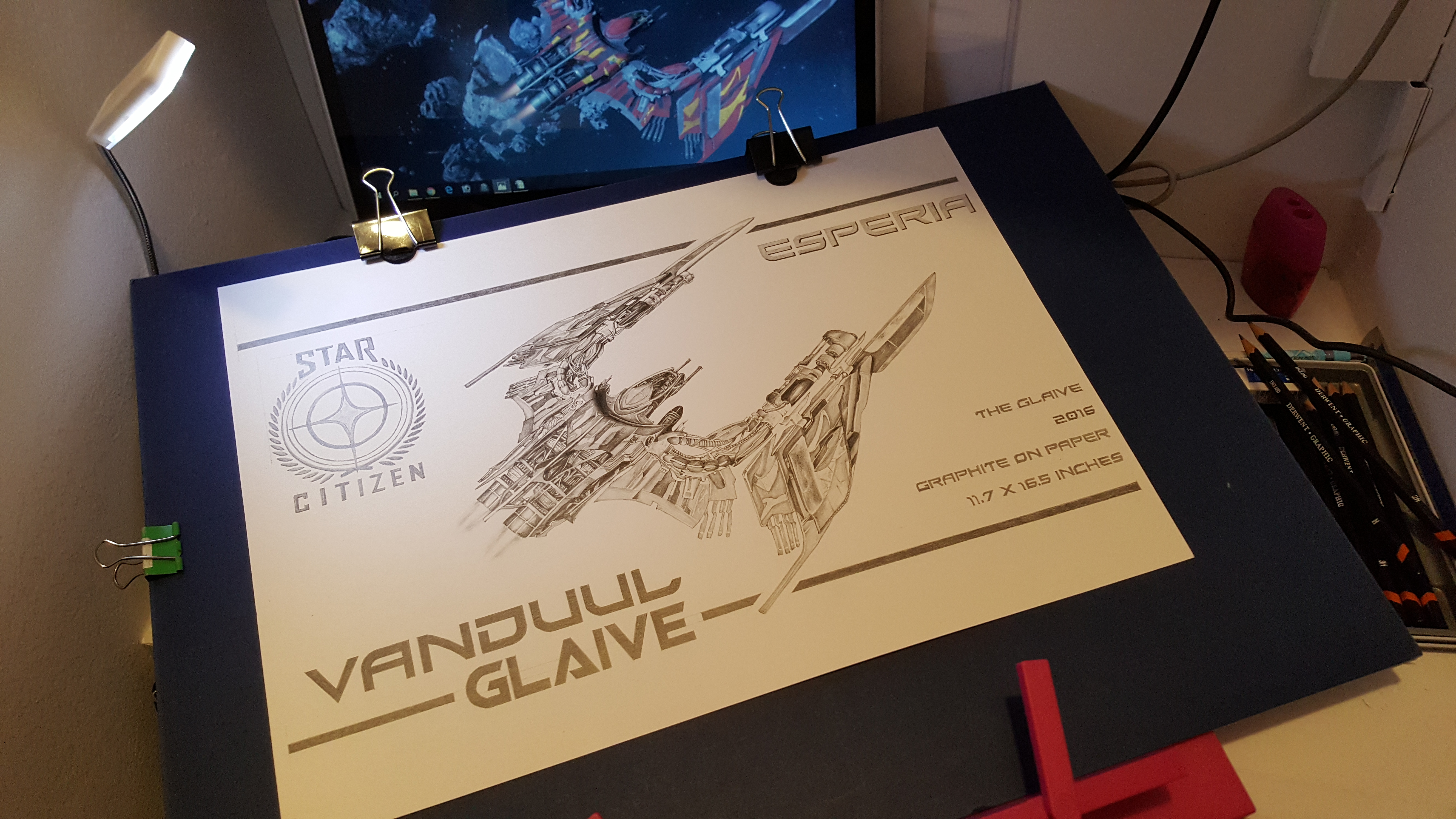 Citizen spotlight - Esperia Vanduul Glaive Graphite (Pencil) Drawing